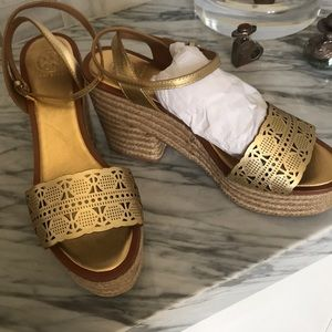 Tory Burch gold platform sandals